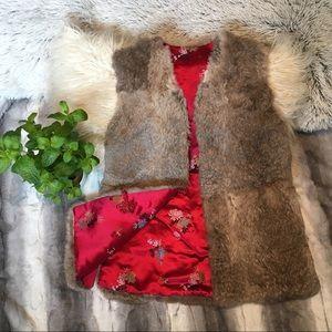 [Vintage] Reversible Fur/Silk Kimono Vest